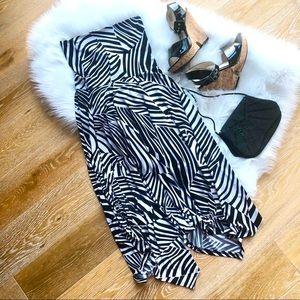LAPIS strapless black + white animal print dress